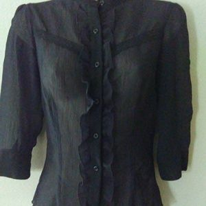 Button Up Top by Lola Black Sheer Small
